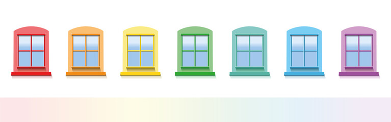 Seven colorful windows. Isolated vector illustration on white background.