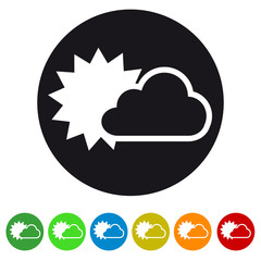 Cloud and sun flat icon for apps and websites