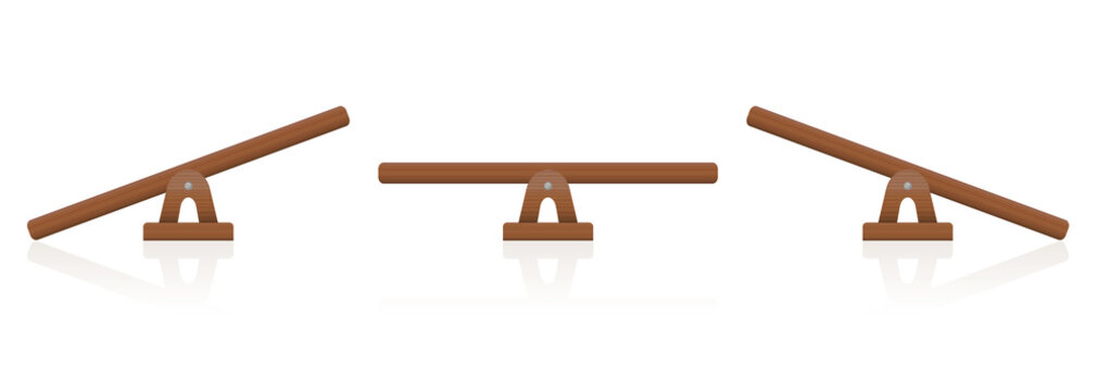 Seesaw or wooden balance scale set of three items - balanced and unbalanced, equal and unequal weightiness - isolated vector illustration on white background.