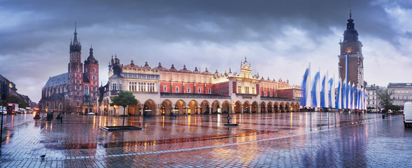 Krakow rainy autumn