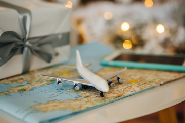 Christmas fly to holiday. New Years present for traveler