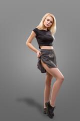 blonde female model dressed in short gray skirt isolated