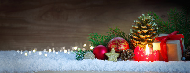 Christmas background with Advent candle.