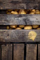 potatoes in a farm crate