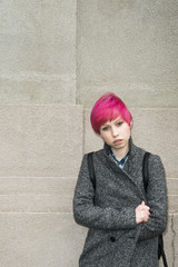 young student with pink hair