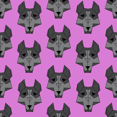 cute cartoon husky dog seamless pattern on a pink background