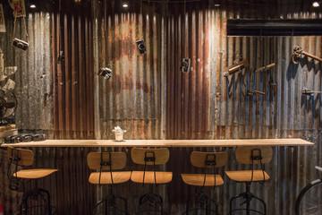 Rusty wall at the bar