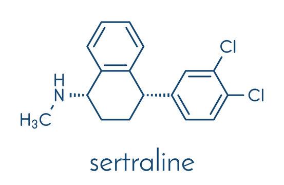 Sertraline antidepressant drug molecule. Skeletal formula.
