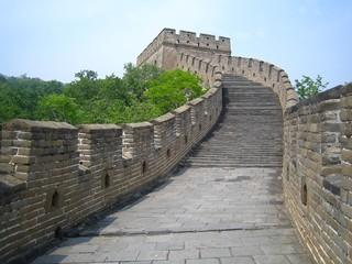 Escaliers menant à une tour de guet sur la Grande Muraille de Chine