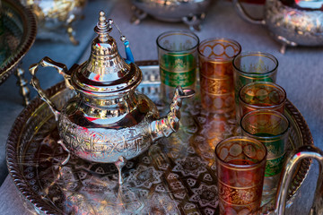 Moroccan traditional homemade souvenirs on open market
