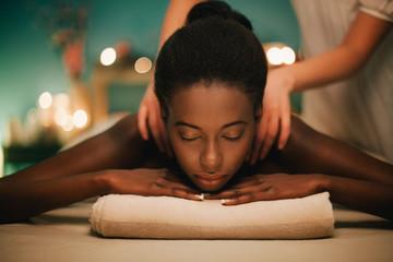 African Woman Being Massaged