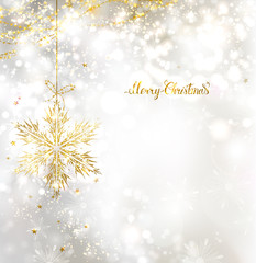light Christmas background with holiday gold snowflake