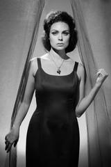 Woman Entering Through a Curtain, Cinematic Portrait