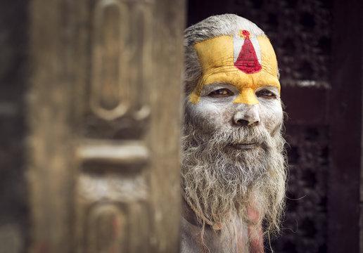 Portrait of sadhu, Indian holy man
