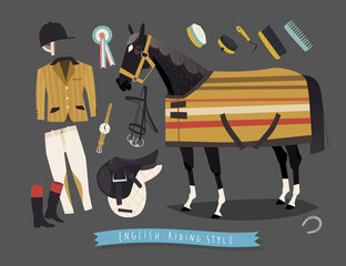 English horse riding clothing, grooming tools and riding essentials
