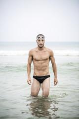 Portrait of swimmer in the sea