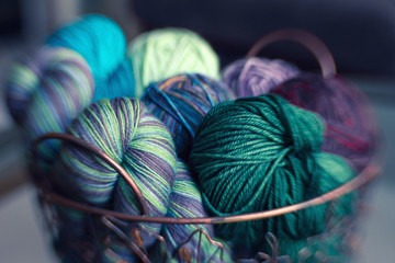 Basket of colorful yarn fiber