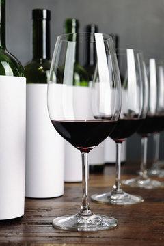 Bottles arranged for blind wine tasting