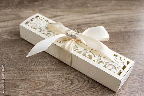 Wedding Ring On Invitation Box