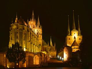 Erfurt - Dom und Severikirche Nachtaufnahme
