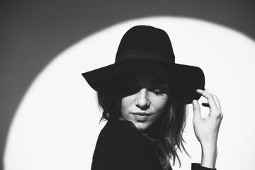 Fashion woman black and white portrait