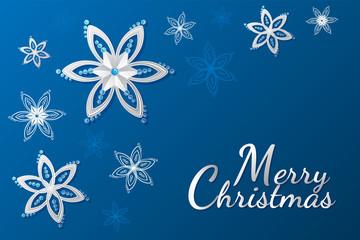 merry Christmas greeting card Christmas ball snowflake flower jewel flat 3D flat ribbon background
