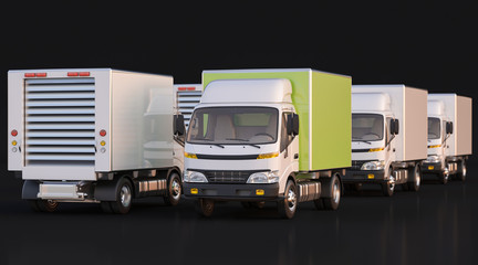 Group of Delivery Trucks with Front and Rear View