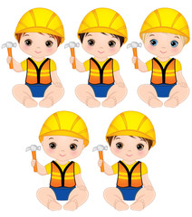 Vector Cute Baby Boys Dressed as Little Builders with Hammers