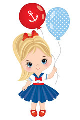 Vector Cute Little Girl Dressed in Nautical Style with Balloons