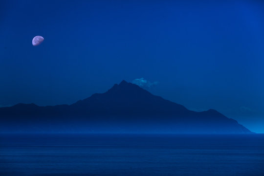 Scenic view of Aegean Sea with Athos Mountain