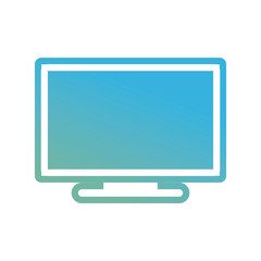 flat line colored television screen  over white background  vector illustration
