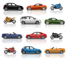 Illustration collection of cars and motorbikes