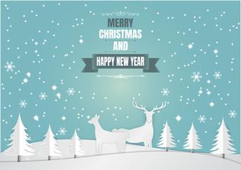 Paper art style, Snowflake and deer for Christmas Season, Vector illustration