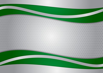 Wave green and silver abstract vector background