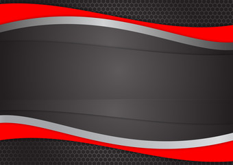 Wave Red and black abstract vector background