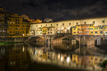 Ponte Vecchio bridge by night in Florence - Tuscany