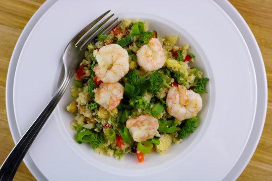 Fried shrimp, toasted cashews and cauliflower stir-fry