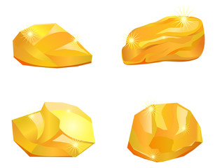 Four different gold nuggets or stones vector image