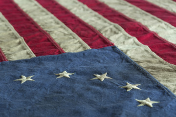 Detail of old dingy Betsy Ross Flag