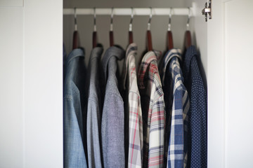 Men's Closet with Button Down Shirts
