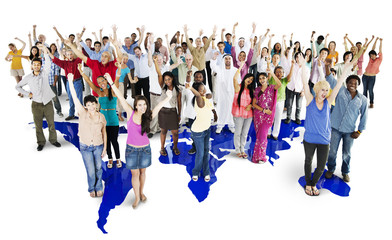 Group of diverse people standing together with arms raised