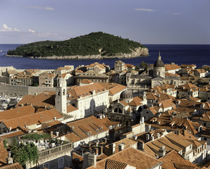 The rooftops of the Walled City of Dubrovnik, UNESCO World Heritage Site, Croatia, Europe