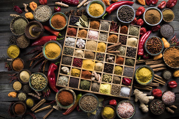 Assorted Spices in a wooden box