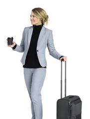 Caucasian Business Woman Travel Luggage Concept