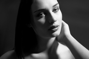 Portrait of a beautiful young brunette.