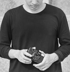 Young man photographer leisure lifestyle portrait
