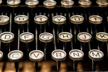 Antique typewriter with round keys
