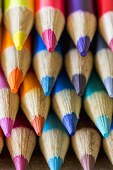 Rows of colorful pencils, close-up