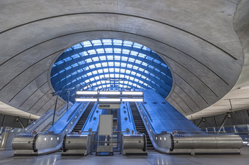 Contemporary architecture of Canary Wharf subway in London