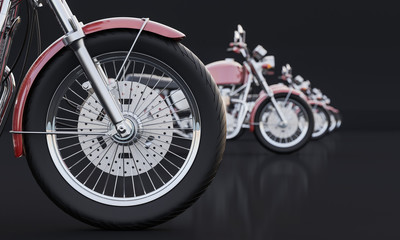 Red Colored Motorcycles Lined up in a Row